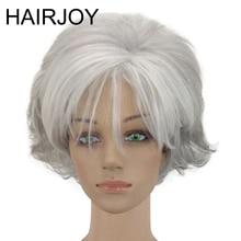 HAIRJOY-perruque synthétique courte bouclée gris argenté   Perruque superposée pour femmes, 3 couleurs disponibles