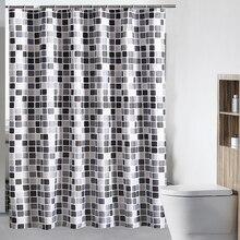 200*180cm Plaid Bathroom Shower Curtain Black & Gray Waterproof Fabric Bath Curtains with 12 Hooks