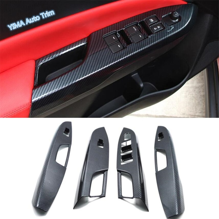 Lapetus reposabrazos para puerta ventana botón de elevación de vidrio cubierta de cuadro de mandos embellecedor para Suzuki Vitara Escudo 2015 - 2020 con apariencia de fibra de carbono