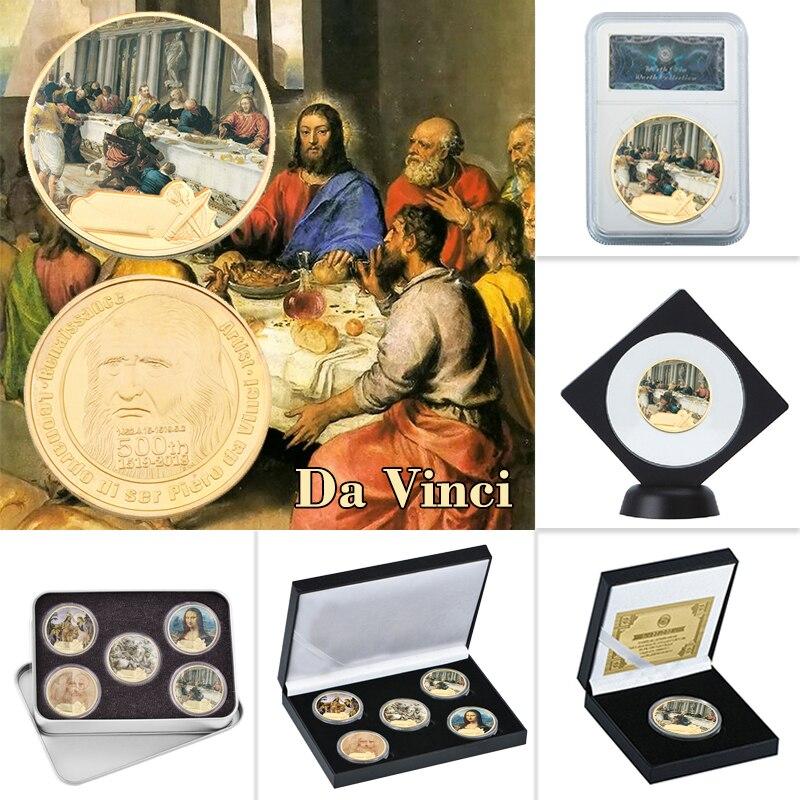 WR Leonardo Da INCI, colección de monedas chapada en oro con soporte para moneda, recuerdo Original de Mona Lisa, moneda, Medalla Europea, triangulación de envíos