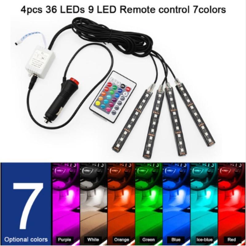 Tira de luces LED RGB para coche, tira de luces LED, colores, decorativo de estilismo, lámparas de ambiente para coche, luz Interior con control remoto de 12V