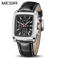 Мужские кварцевые часы MEGIR, деловые часы из натуральной кожи с хронографом, 2028