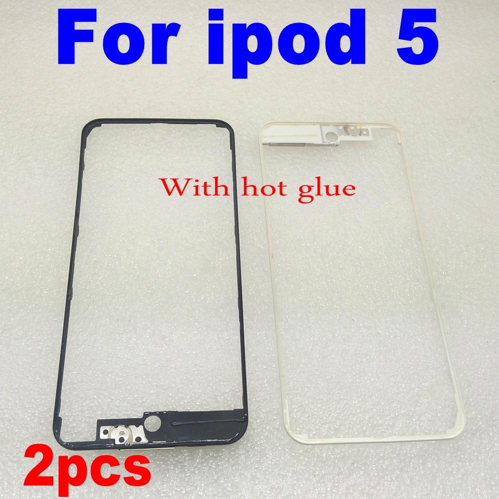 2 pcs Novo Painel frontal Para iPod Touch 5th Gen LCD Titular Mid Moldura do Quadro com cola quente Para ipod toque 5 Moldura parte Substituição