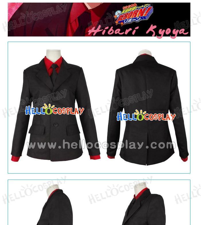 65% algodón + 35% poliéster traje de Anime japonés disfraz de katekyo Hitman reborn Cosplay Hibari disfraz de kyoya H008
