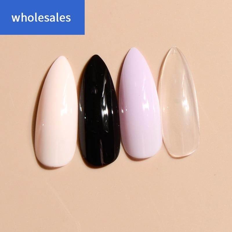 Uñas de stiletto extremadamente largas, uñas falsas de color sólido, Negro, Rosa, morado y uñas falsas claras, 24 Uds.