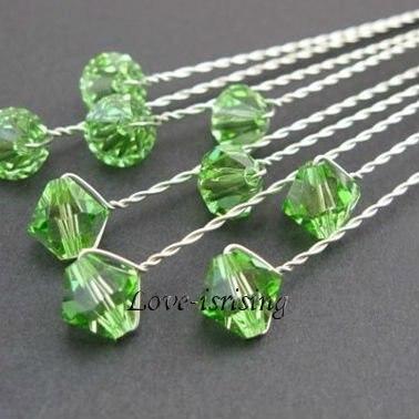 Gratis Shipping-24pcs 8mm color verde claro acrílico cuentas boda flores accesorios boda Ramos nupcial tallo joyería