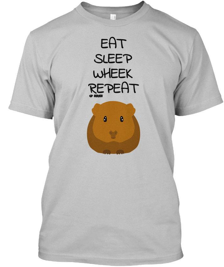 T Shirt 2017 Guinea Pig Series Eat Sleep Wheek Repeat Standard Unisex T Shirt Anime Casual Clothing