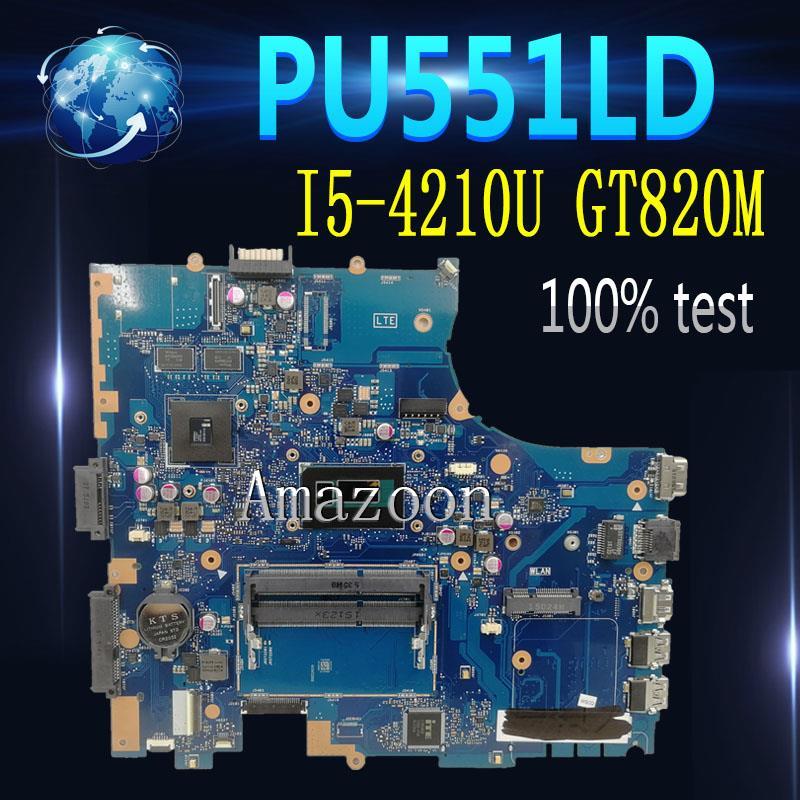 Amazoon PU551LD PU551LA placa base de Computadora Portátil para For Asus PU551LD P551L PU551LA PRO551L prueba original placa madre I5-4210U GT820M