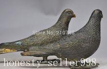 Crafts statue Chinese Bronze Fengshui Pigeon DOVE Peace Symbolize Bird Statue Sculpture