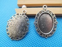 100pcs antique silver toneantique bronze oval base setting tray bezel pendant charmfit 13mmx18mm cabochonpicturecameo