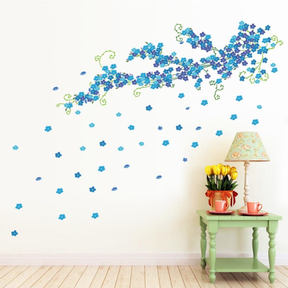 Azul volando flores pegatinas de pared para sala de estar dormitorio decoración del hogar planta DIY arte mural de pared de PVC pegatinas de papel