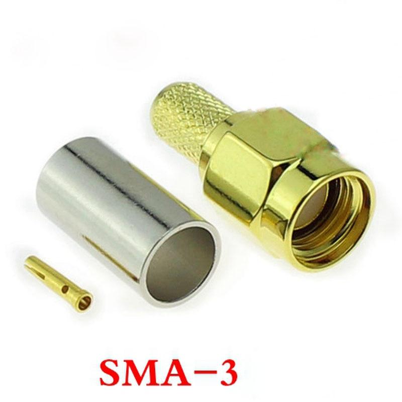 20 piezas 50-3 RP-SMA-J polaridad inversa SMA Connentror (agujero de tornillo hembra) clavija macho hembra para RG58 RG400 etc.-3 cables
