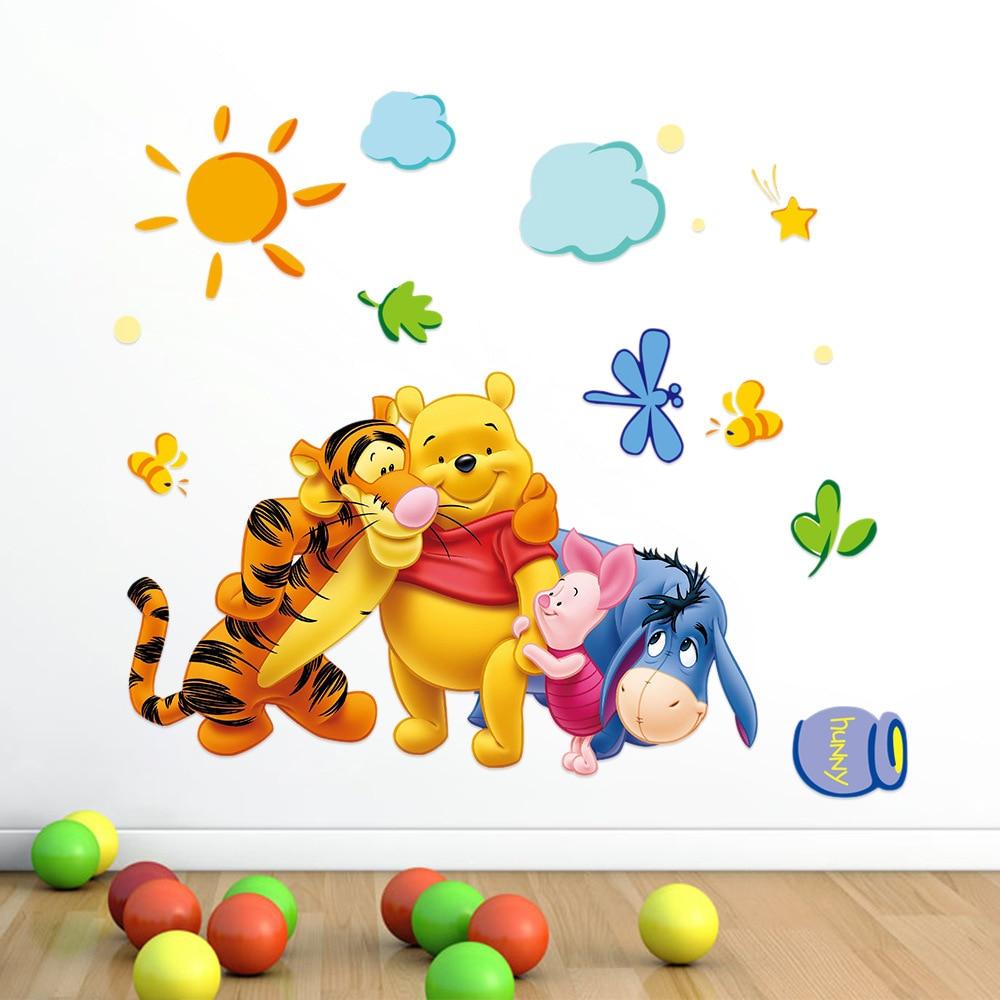 Cute Winnie the Pooh Bear Tiger wall stickers for kids room adesivo de parede Cartoon kindergarten Wall decal Nursery Room Decor