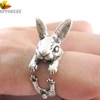 oppohere super cute animal rabbit bunny ring vintage wrap adjustable size chic rings for women party rings