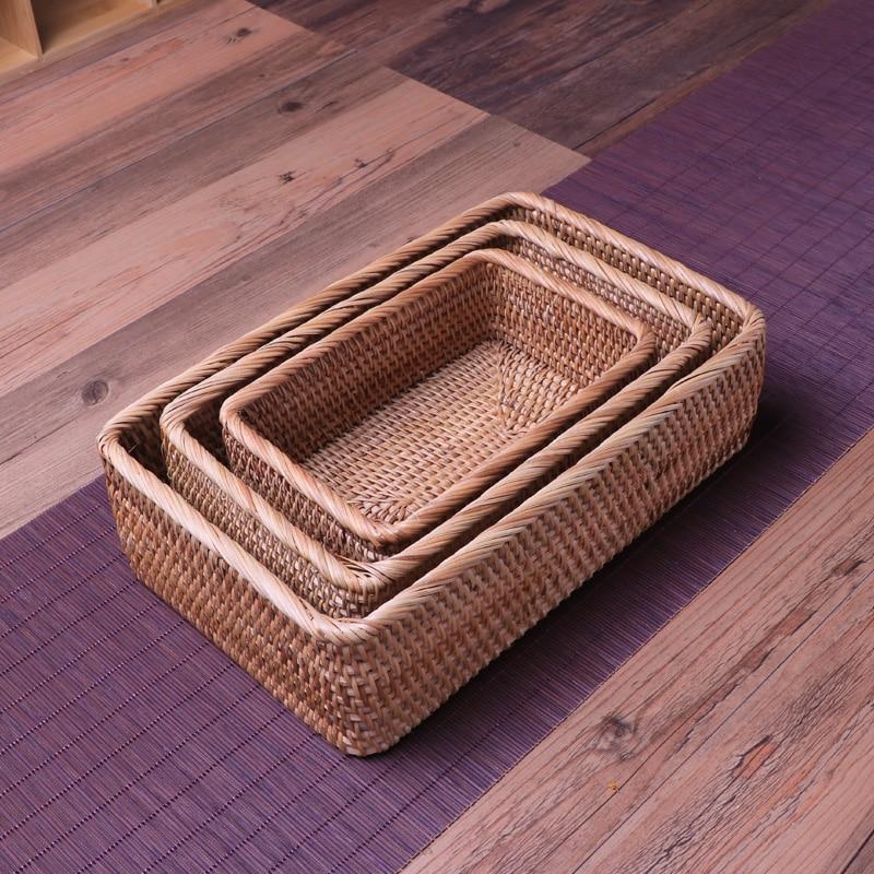 سلال تخزين مصنوعة يدويًا من الخيزران ، مستطيلة ، بدون غطاء ، للفاكهة ، صندوق للوجبات الخفيفة ، المكتب ، الديكور المنزلي
