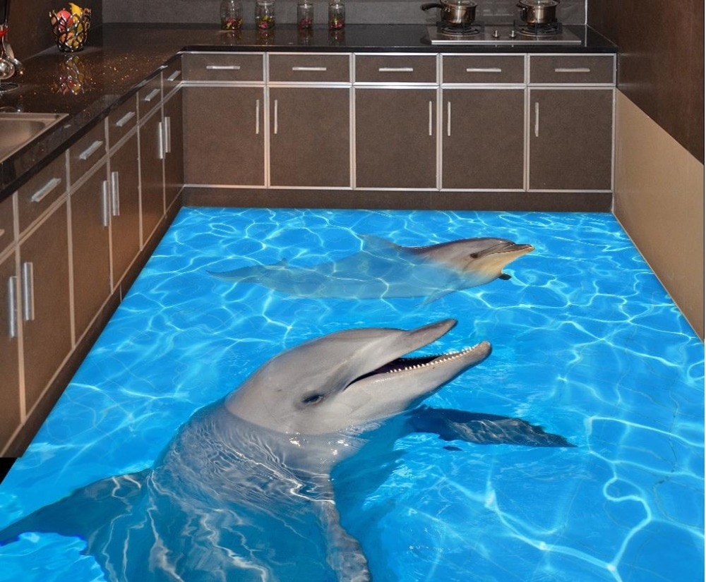 3d floor painting wallpaper Dolphin water 3d floor painting pvc self-adhesive wallpaper 3d pvc wallpaper 3d flooring