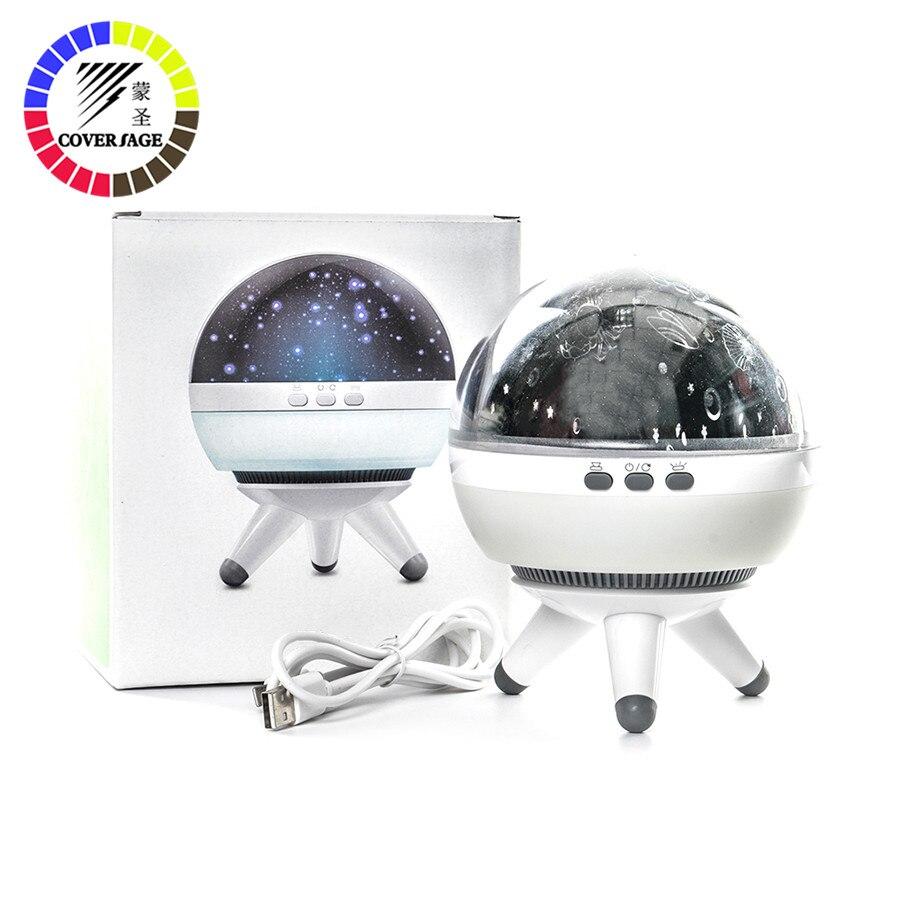 Coversage rotativa luz da noite projetor spin céu estrelado estrela mestre crianças bebê sono romântico led usb lâmpada de projeção