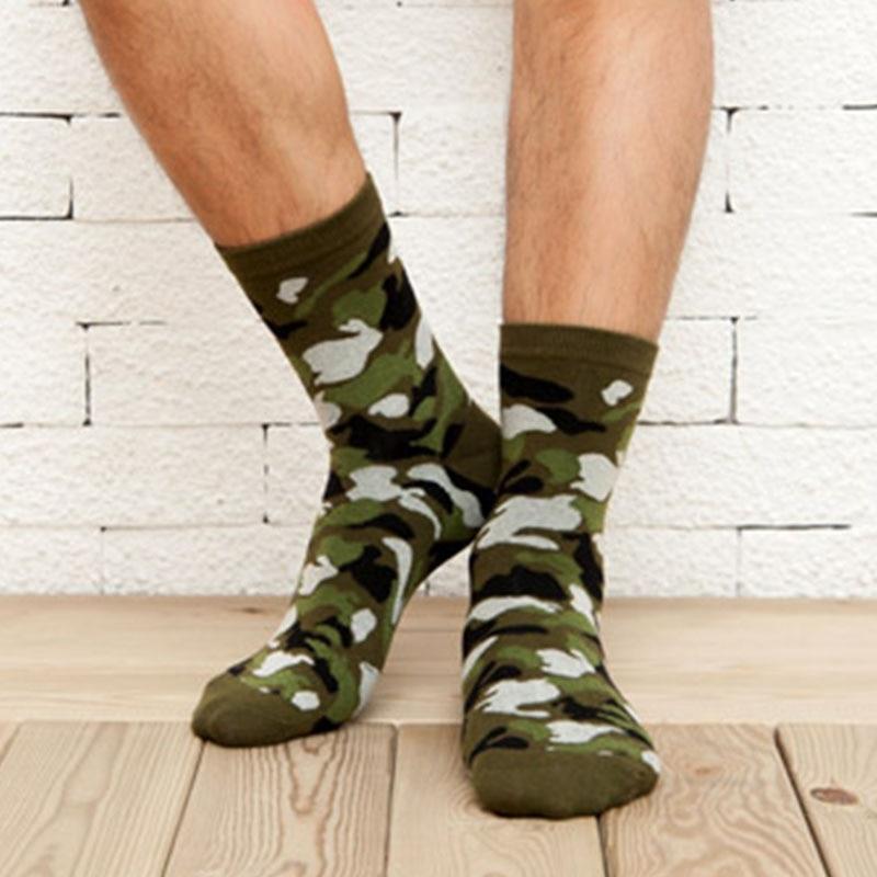 [COCOTEKK] 5 colores coreano nuevo militar calcetines Graffiti verde hombre algodón calcetines estilo jungla invierno clásico camuflaje Calcetines