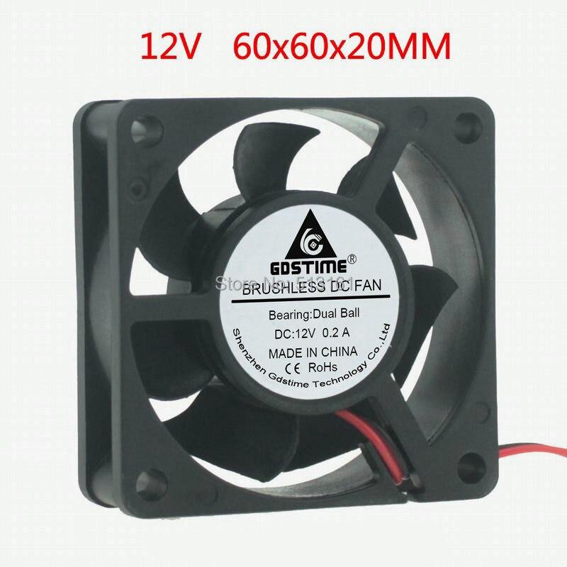 Gdstime 6cm 60x60x20mm Ball Bearing 6020 60mm 12V 2Pin DC Cooling Cooler Fan 5pcs lot gdstime 6015 2pin 60mm 60 60x15mm 12v dc computer cpu cooling fan 6cm cooler