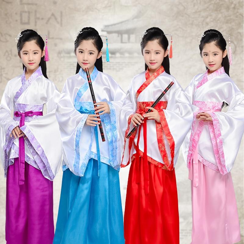 Hanfu vestido de chico chino antiguo de la Dinastía Han princesa concubina Hanfu mejorado para niñas falda China trajes de Baile Folclórico BL1196