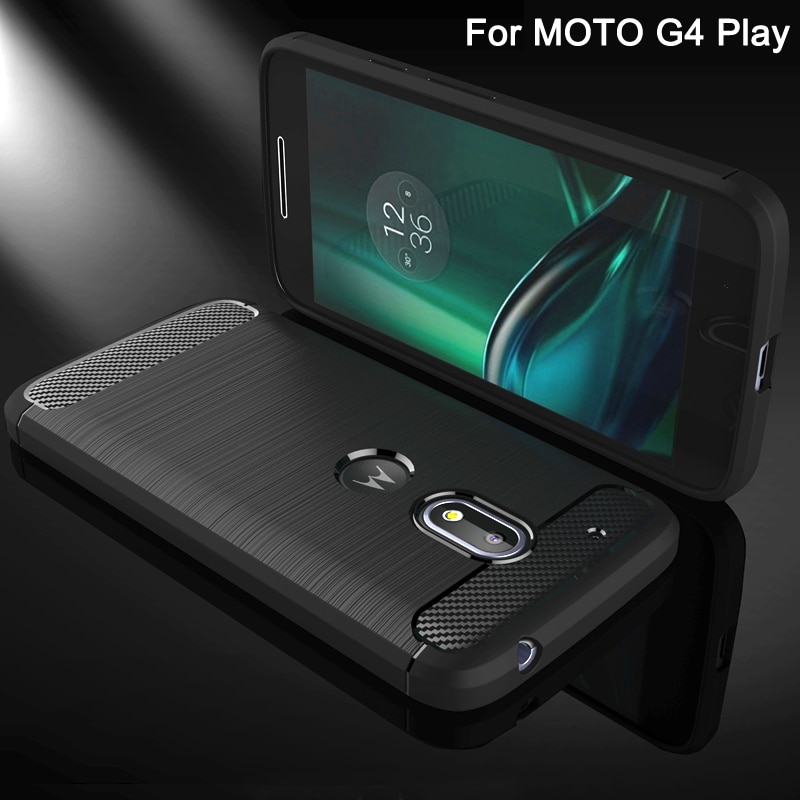 Funda de venta para Motorola Moto G4 Play, funda para teléfono móvil, fundas de TPU cepilladas de fibra de carbono para teléfonos inteligentes para Moto G 4 Play