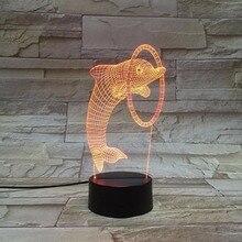 Coloré LED 3D Vision nuit lumière sautant dauphin Image contrôle de contact couleur 3D nuit lampe bureau lumière