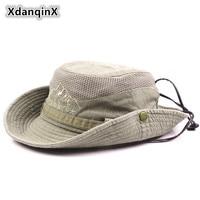 Панама XdanqinX для мужчин, 100% хлопок, сетчатая, дышащая, в стиле ретро, пляжная кепка для рыбалки в джунглях, для взрослых, летняя