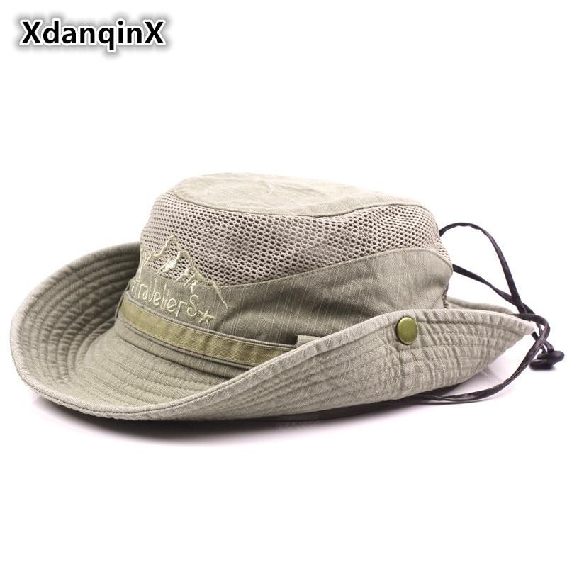 XdanqinX Adult Men's Hat Summer Mesh Ventilation Retro 100% Cotton Bucket Hats Novelty Dad's Sun Visor Fishing Hat Beach Caps