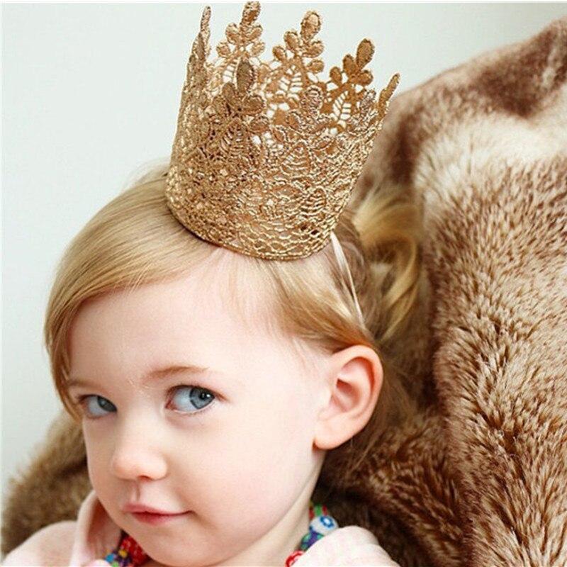 Diadema para el pelo Tiara para recién nacidos, niñas, bebés, infantes, corona grande, diadema de encaje a la moda