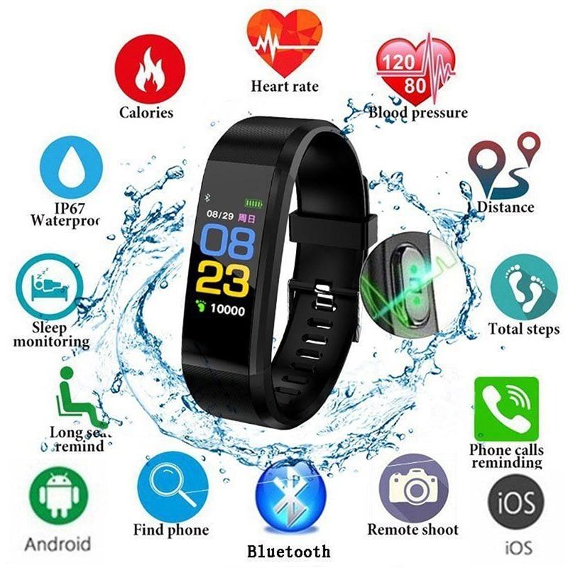 1 pc ID115 Bluetooth reloj inteligente pulsera podómetro Deporte Fitness rastreador
