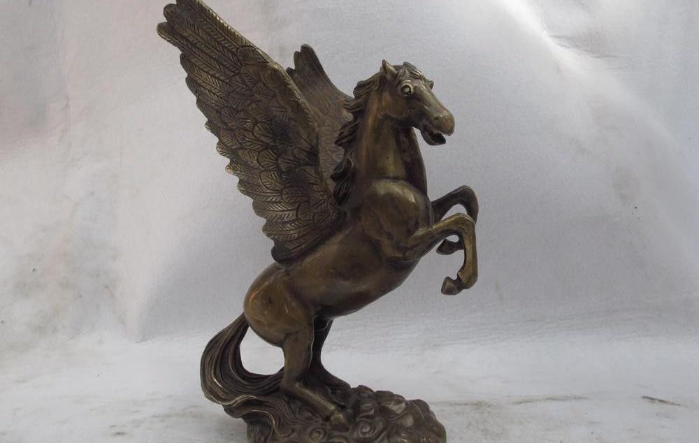 Estatua de bronce tallado de cobre clásico chino de 9,5 pulgadas, Ángel volador de la suerte, estatua arte de caballo
