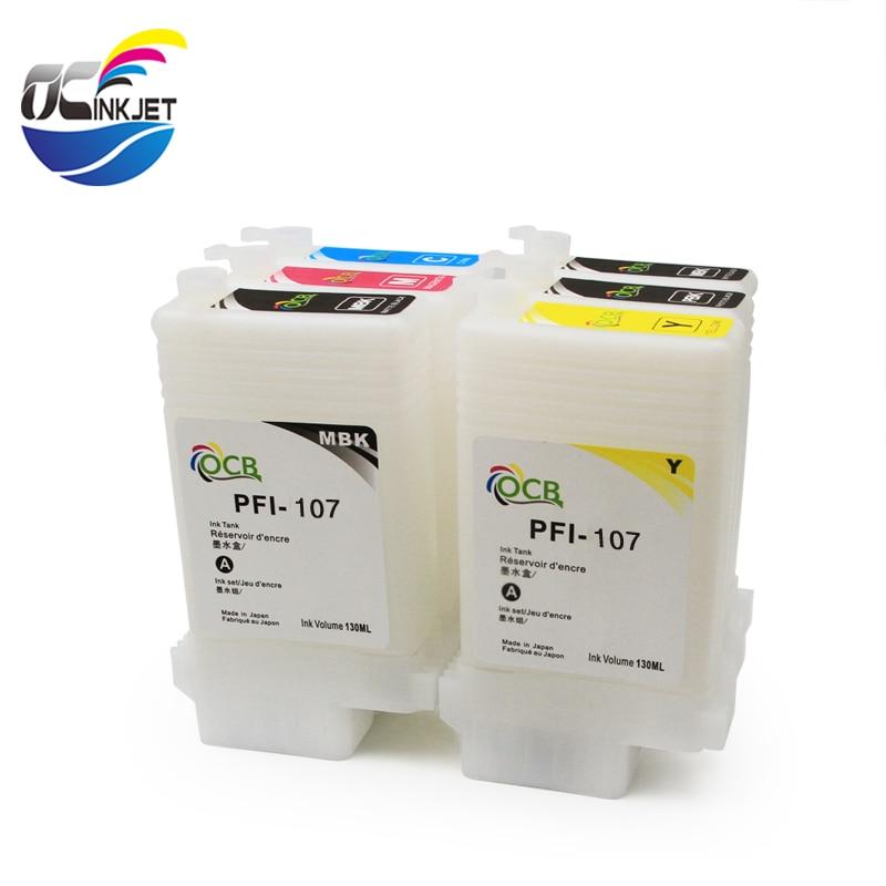 OCINKJET vacía 130ML cartucho de tinta para Canon PFI-107 cartucho de tinta rellenable adecuado para Canon IPF-670 IPF-680 IPF-685 GIB 770