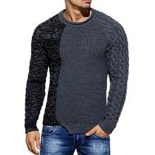 Otoño Invierno nuevo suéter de moda de cuello redondo de retales Jersey de algodón para mujer Slim Fit manga larga suéteres de punto para hombre