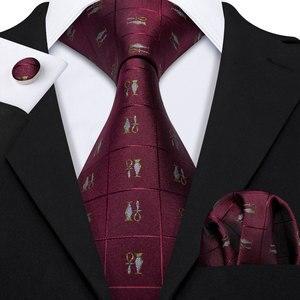 Barry.Wang Fahsion Designers Red Novelty Mens Silk Ties Gravat Hanky Box Gifts Set Ties For Men Wedding Groom Neckties LS-5169