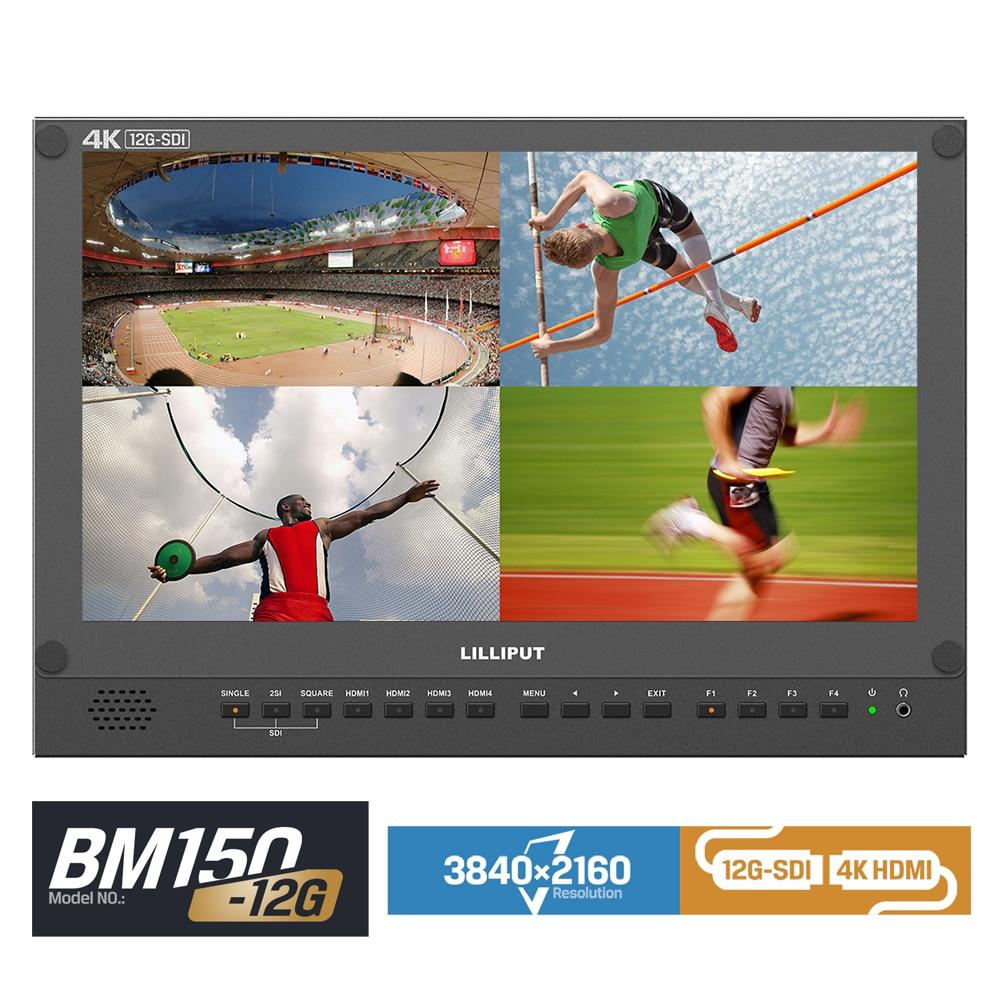 Lilliput 4K 12G-SDI input Broadcast Director Monitor BM150-12G 15.6 inch 4k HDMI For 6U Rackmount Multiviewer Camera Display