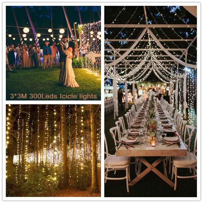 Impermeable 3M x 3M 300 LED guirnalda cortinas luz ventana carámbano luces Ideal para exteriores Jardín casa Navidad Fiesta boda