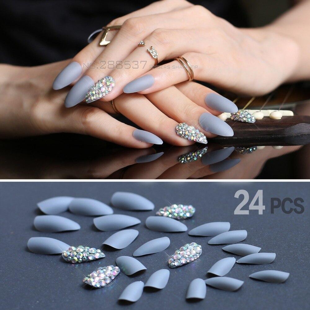 Uñas con prensa gris mate, uñas postizas de stiletto postizas de Punta corta, cubierta completa con pegamento de gelatina 24 Uds