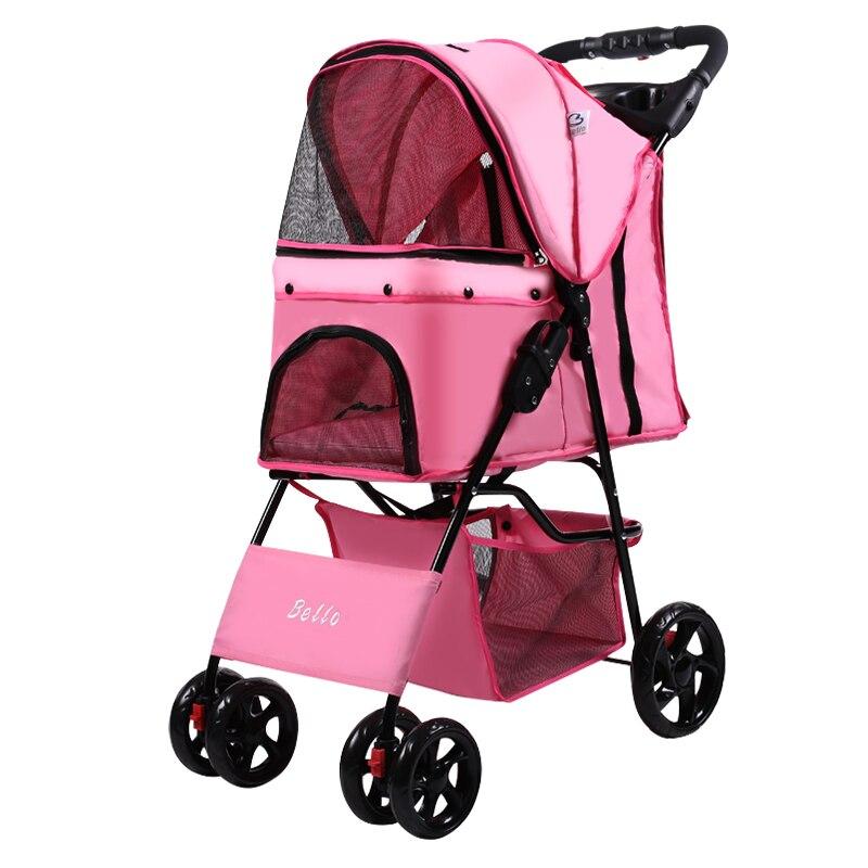 Cochecito plegable rápido para mascotas H 1s con cuerda de seguridad tela Oxford + malla Portable para mascotas 4 Carro con ruedas con cubierta de lluvia Dotomy