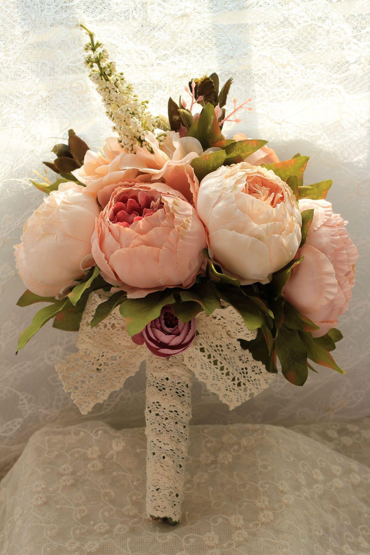 Ramo de la boda ramo rosa de flores de la boda ramo de novia artificial accesorios para dama de honor flor