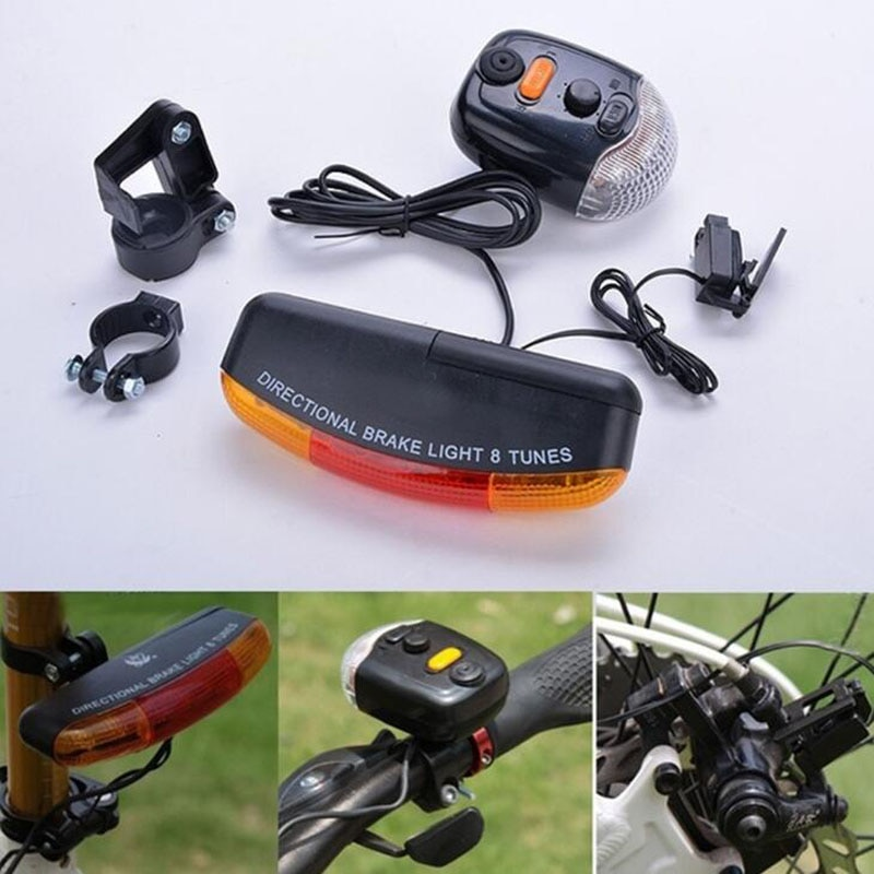 1 Juego 3 en 1 bicicleta multifunción señal de giro luz trasera de advertencia luz de freno de ocho tonos accesorios de campana de bocina eléctrica