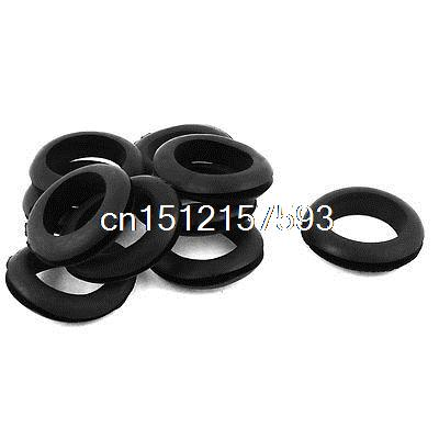 10 x NEGRO GOMA 35mm agujero abierto anillo cableado de cable de doble cara