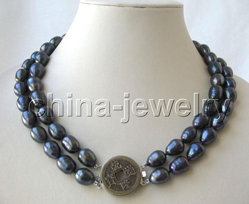 "P3207-2row 17-18 ""13mm natural negro barroco collar de perlas de agua dulce-GP"