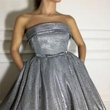 robe de soiree With Sleeveless Strapless Long Evening Dress Oman Shiny Grey Wave Prom Dress Formal E