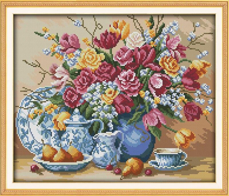 Costura, 11/14 ct DIY punto de cruz, conjuntos para kits de bordado completo, regalo de punto de cruz con patrón de flores florero de fruta y rosa