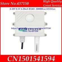 Sensor de luz 0-10V 0-5V 4-20mA RS485 200000Lux 65535Lux, transmisor de adquisición de iluminación industrial, pantalla LCD