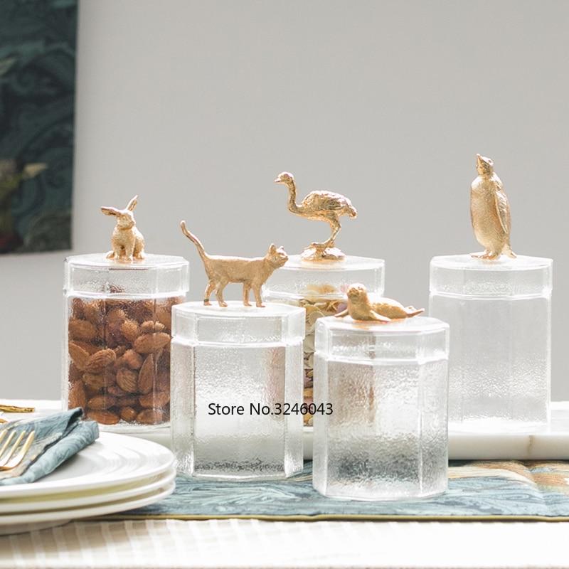 Criativo decorativo armazenamento de armazenamento frasco de vidro armazenamento de alimentos doméstico chá mesa de café decoração frasco recipientes de armazenamento de vidro