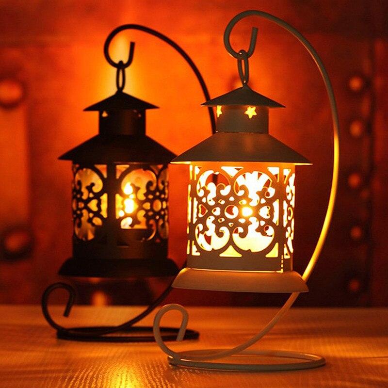 Ferro estilo marroquino castiçal castiçal suporte de vela suporte luz suporte estilo europeu casa decoração lanterna vbt05 t35