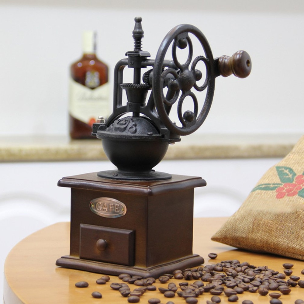 Manual Coffee Grinder Vintage Style Wooden Coffee Bean Mill Grinding Ferris Wheel Design Hand Coffee Maker Machine