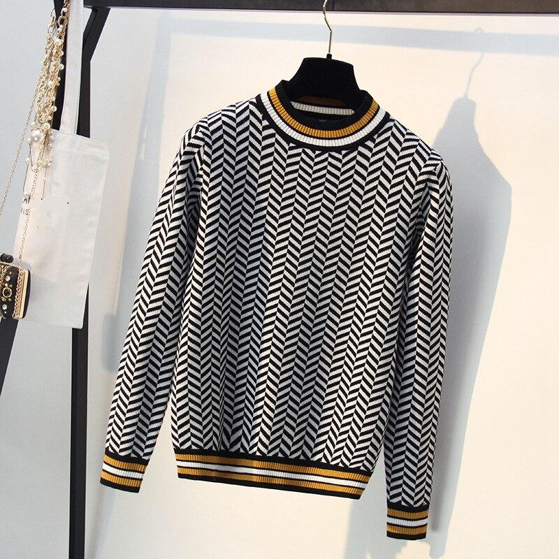 חדשה באיכות גבוהה פסים סתיו חורף נשים סוודר עבה אקארד סרוג סוודרים סוודר אופנה מקרית Femme Jumper