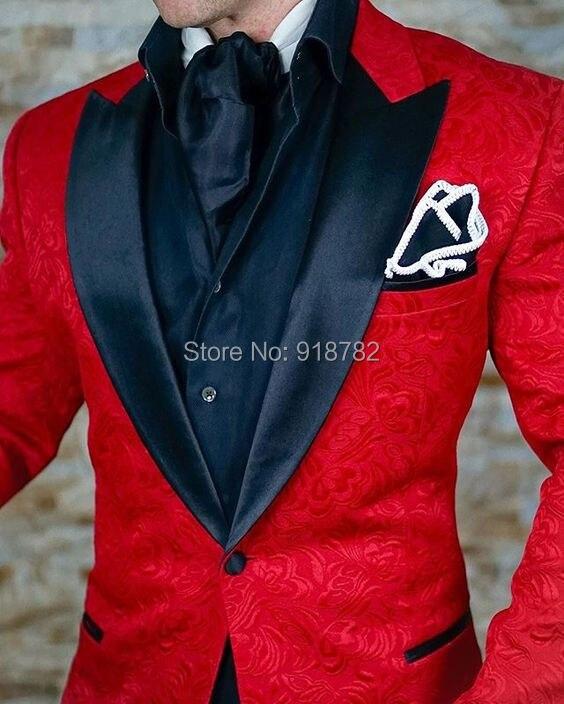 Terno Masculino-بدلة سهرة حمراء ، بنطلون أسود ، طباعة جاكار ، للرجال ، مع طية صدر السترة ، بدلة التخرج ، الزفاف ، للعريس ، 2018